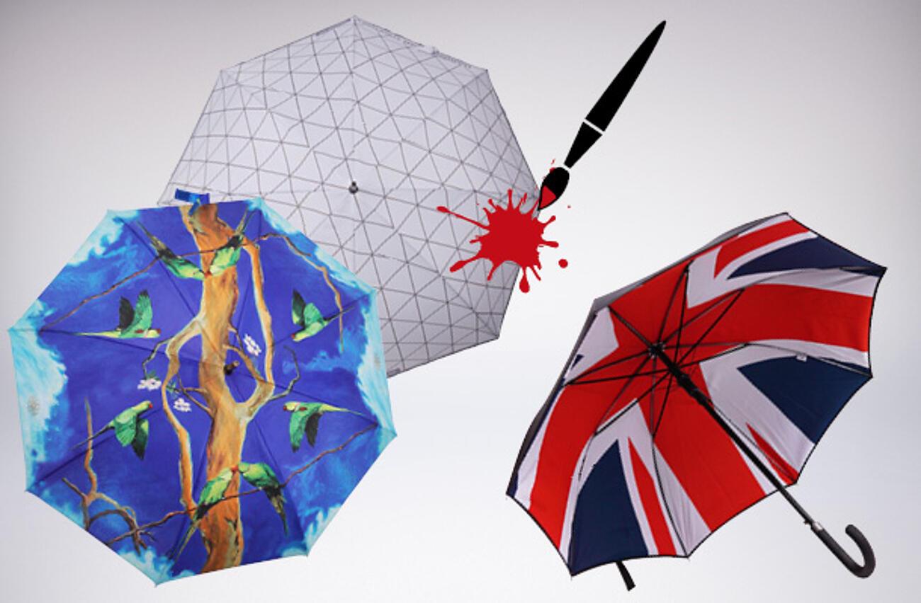 Stampa di loghi su ombrelli policromatici